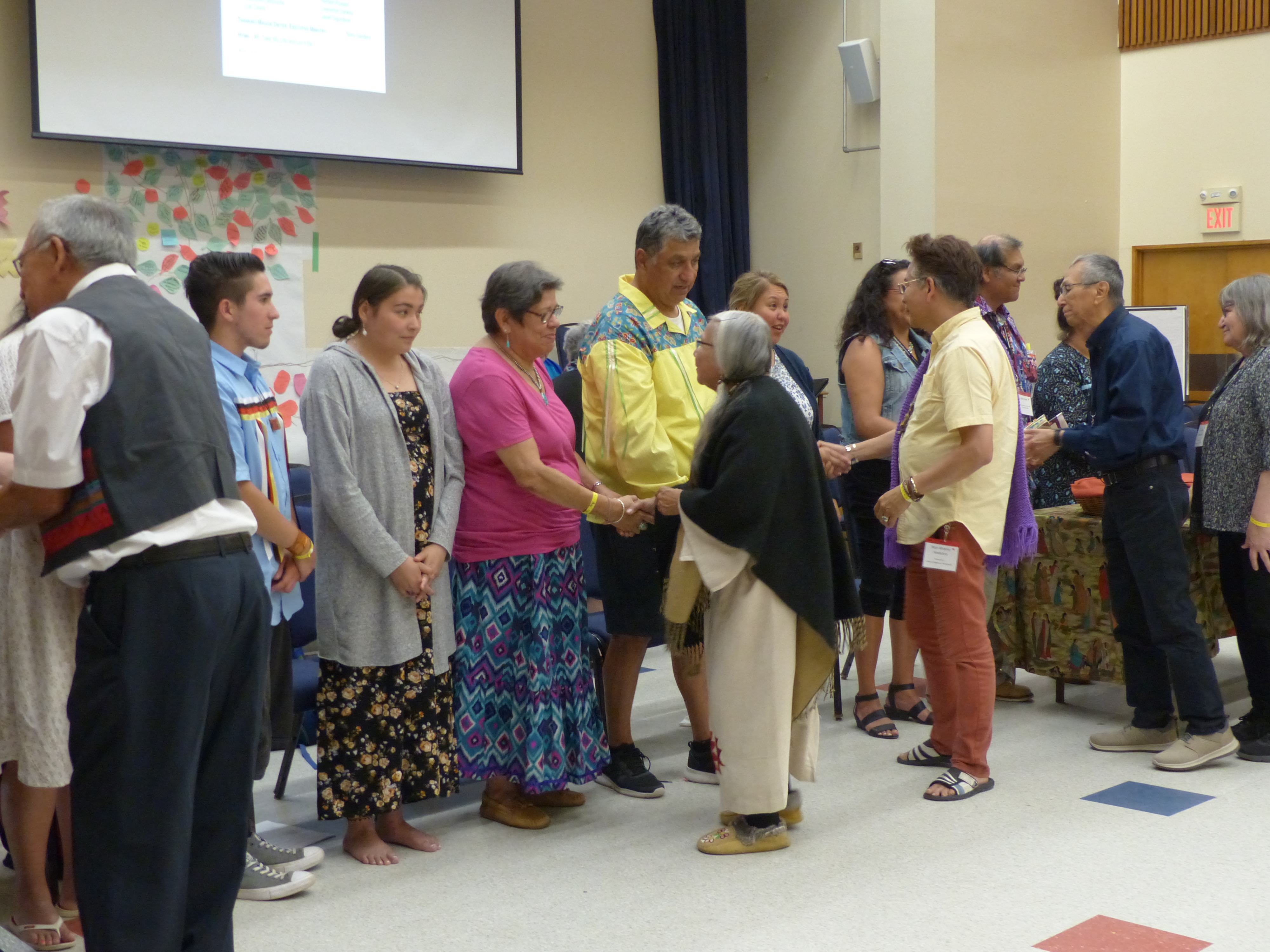 Spiritual Gathering participants greet the new National Indigenous Council.