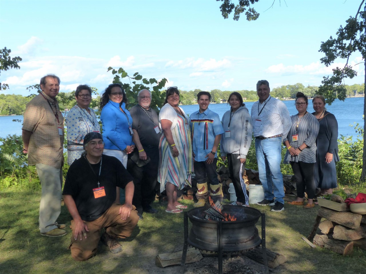 The new National Indigenous Council with firekeeper Ka-Way Yah.